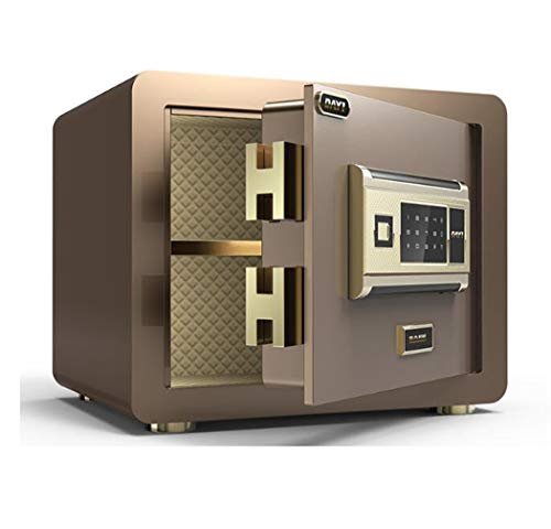 Home Security Electronic Lock Box, Fingerprint Binnenlandse Zaken Electronic Money Cash stalen kluis met digitale elektronisch slot,Brown