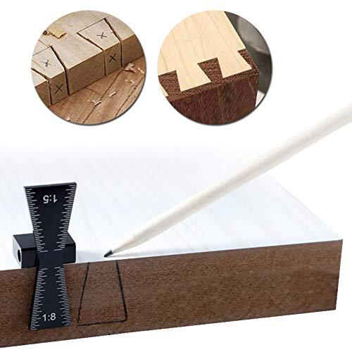 Marcador de cola de milano, aleación de aluminio, herramienta de guía de madera cortada a mano, tamaño de plantilla de cola de milano 1:5 y 1:8 de madera dura AP507149
