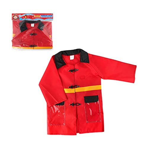 ZJL220 Disfraz de bombero para niños de cosplay de bombero impermeable para uniforme de ropa de juego de rol, juguete divertido para fiesta de Halloween regalo