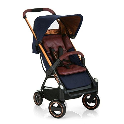 Silla de paseo compacta iCOO Acrobat hasta 18 kg con función de tumbado desde el nacimiento, plegable con una mano, ligero - chassis de aluminio, manillar regulable en altura, reflectores - azul