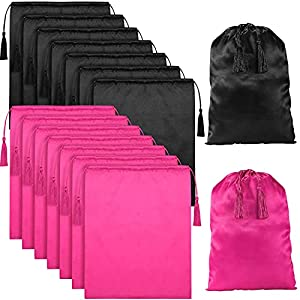 16 Pieces Satin Wig Bags Soft Silky Wig Pouches with Drawstring Tassel Large Hair Storage Bags for Packaging Hair Extensions Wigs Bundles Travel (Pure Black and Pure Pink)