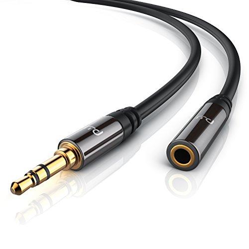 Primewire- 10m Cable Auxiliar de Audio Cable alargador 3.5mm Jack para entradas AUX - Conector metálico de precisión -...