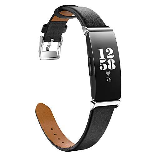 MoKo Armband Kompatibel mit Fitbit Inspire/Inspire HR/Inspire 2, Klassisches Leder Uhrenarmband Lederarmband Ersatzband Uhr Band Watchband mit Metallschließe - Schwarz