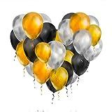 Unishop 100 Globos de Colores Dorados Plateados y Negros de Látex para Fiestas, Globos para Decorar en Celebraciones, Bodas, Cumpleaños (Metálico)