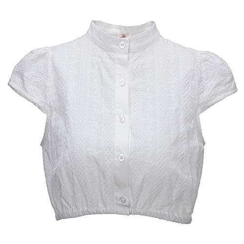 Kamellia Damen Baumwolle Dirndl blusen Weiß Dirndlblusen Kurzarm Trachten blusen (Büste 47cm/Saum 66cm, Numeric_38)