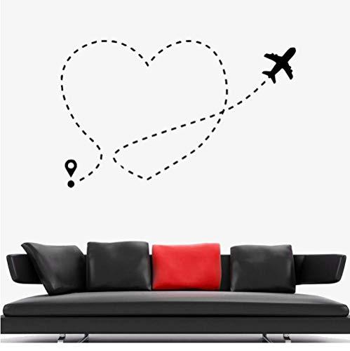 Muursticker vliegtuig hart liefde romantiek vlieg reis vinyl sticker Home Decoration accessoires voor de woonkamer muurschilderingen 36x57cm