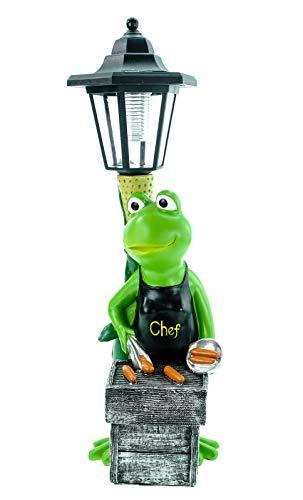 Kremers Schatzkiste Frosch Grillmeister mit LED Solarlaterne und Chef Schürze Frog Figur Skulptur