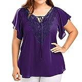 OVERDOSE Damen Mode Casual Chiffon Plus Size Curve Appeal Spitze V-Ausschnitt T-Shirt Bluse Kurze Fledermaus Ärmel Sommer Tops Tees Oberteile (EU-52/CN-4XL, H-Lila)