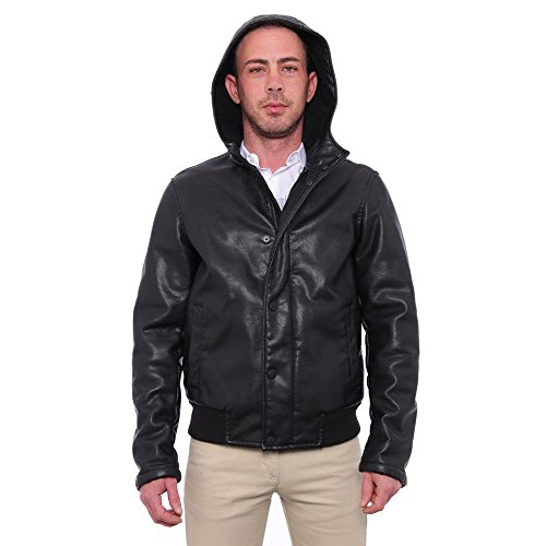 Kenneth Cole Reaction Men Faux-Leather Hooded Jacket Basic Jacket