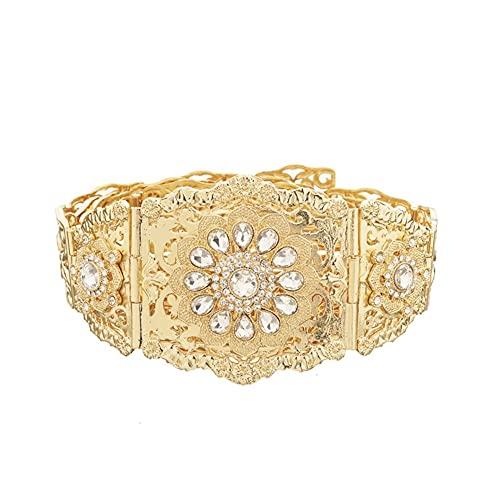 LCKJ Cinturones de mujer Cinturones de joyería Cinturón de boda Palacio Tallado Tallado Rhinestone imitación Perla Inlay Aleación de oro de lujo MÁS TAMAÑO Cintura de cintura ancha para vestido abrigo