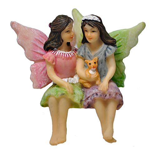 Twig & Flower Miniature Fairy Garden Sisters Alice & May (Hand Painted)