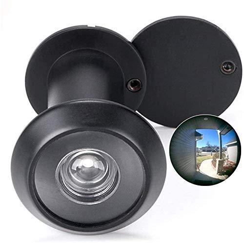 Mirilla para Puertas Acero Inoxidable de Espesor 35-55mm, con HD vision de 200 Grados Seguridad para Hogar(Negro)
