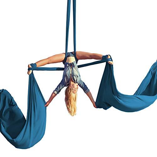 Kit para principiantes de seda aérea, hamaca de yoga y danza acrobática, incluye 9 yardas de tela de tricot aérea, hardware y guía – apto para punto de aparejo de hasta 13 pies, 9 Yards, Verde azulado
