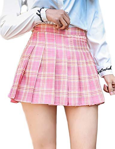 Jenkoon Womens Girls Pleated Dennis Skirt High Waist A-Line School Uniform Skater Skirt (Pink, Large)