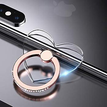 2 Pcs Transparent Phone Ring Stand Holder Cell Phone Ring Holder Finger Grip 360 Degree Rotation  Rose Gold & Diamond-3