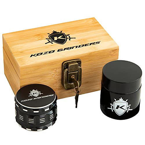 """Kozo Wood Stash Box Combo Kit with Aluminium 2.5"""" Herb Grinder, Rolling Tray, Locking Smell Proof Jar with Airtight Seal and a Lock With Keys. A Padded Wooden Box Set with The Accessories You Need!"""