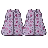 Bacati Owls Girls Cotton Percale 2 Pack Sleeping Bag Small, Pink/Grey