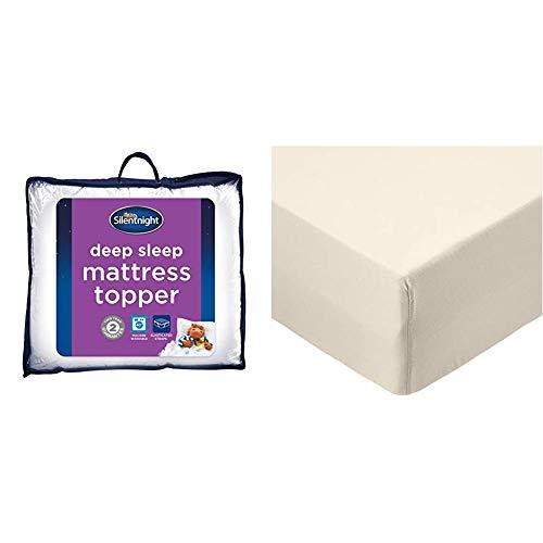 Silentnight Deep Sleep Mattress Topper, Polyester-Cotton, White, Single & AmazonBasics Microfibre Fitted Sheet, Single, Beige