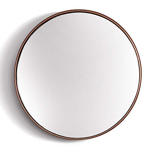 Elegance by Casa Chic - Wandspiegel aus Metall - Rund 40 cm Durchmesser - Galvanisiertes Metall - Ideal für Badezimmer und Wohnzimmer - Rose Gold