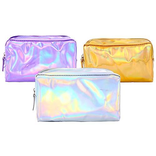 Trousses à Maquillage Étuis à Cosmétiques Femmes en Cuir PU Paquet Laser Coloré pour Pencil Case Papeterie De Voyage Pochette Douce Pen Storage Bag Rainbow Cosmetic Brush Organizer 3pcs