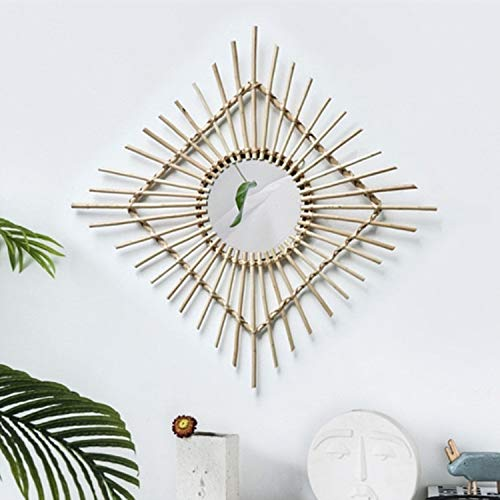 ZHOUSITONGEU Creative Art Decoration ronde spiegel Living Room Wall Opknoping Mirror, Style: Rattan decoratieve spiegel vierkante