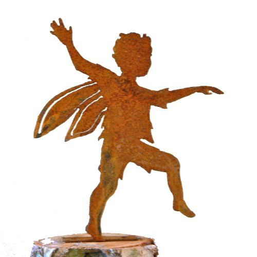 Elegant Garden Design Skipping Boy Fairy, Steel Silhouette with Rusty Patina