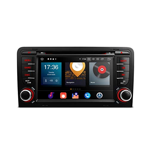 XTRONS Android 10 Double Din Car Stereo Radio DVD Player Octa Core 4G RAM 64G ROM GPS Navigation 7 Inch Touch Screen Head Unit Support Car Auto Play WiFi OBD DVR TPMS Backup Camera for Audi A3 S3 RS3