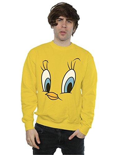 Looney Tunes Men's Tweety Pie Face Sweatshirt Medium Sunflower