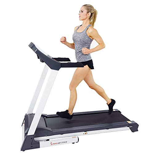 Sunny Health & Fitness SF-T7515 Smart Treadmill with Auto Incline, Sound System, Bluetooth and...