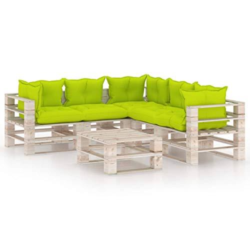vidaXL Madera Pino Juego de Muebles de Jardín de Palets 6 Piezas Cojines Hogar Mobiliario Patio Exterior Terraza Mesa Asiento Sofá con Respaldo Suave
