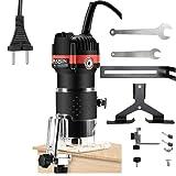 Fresadora eléctrica para madera Recortadora de mano eléctrica Laminador de madera para Carpintería, Router enrutador,Carpinteros herramienta Fresadora 800 W, 30000r/min