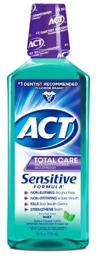 ACT Total Care Anticavity Fluoride Mouthwash, Sensitive Formula Mint, 18 Fluid Ounce