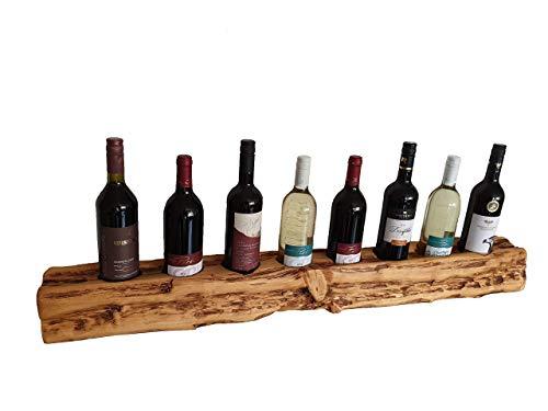 Wood & Wishes Rustikales Weinregal, Weinflaschenhalter aus Massivholz; gefertigt in Handarbeit für 8 Flaschen Wein; dekoratives Unikat; Wandmontage; HBT ca. 12x112x12 cm; Treibholzoptik; Landhausstil