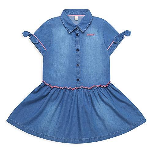 ESPRIT KIDS Mädchen RQ3400312 Dress Kleid, Mehrfarbig (Medium Wash Denim 463), (Herstellergröße: 128+)