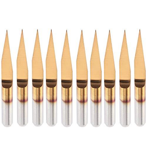 HQMaster 10 Degree 0.1mm Tip Titanium Coated Flat Bottom Carbide PCB Engraving...