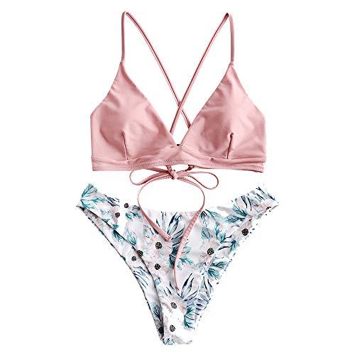 ZAFUL Damen Floral Criss Kreuz Gepolstert Bikini Set Badeanzug Rosa M