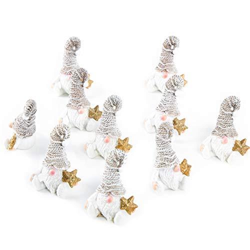 Logbuch-Verlag 10 kleine Wichtelfiguren weiß braun mit goldenem Stern + Glitzer Zipfelmütze 7 cm Wichtelgeschenk Kinder Mini Nikolausgeschenk Deko Weihnachten