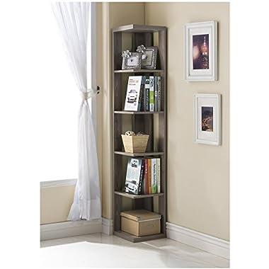Dark Taupe Finish Wood Wall Corner 5-Tier Bookshelf Bookcase