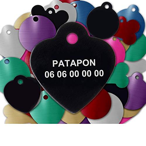 GRAVURE CONCEPT Médaille pour Chien Et Chat À Personnaliser – Médaillon Gravé 25 mm - 1 à 2 Lignes – 8 Couleurs Disponibles (Noir, Coeur)