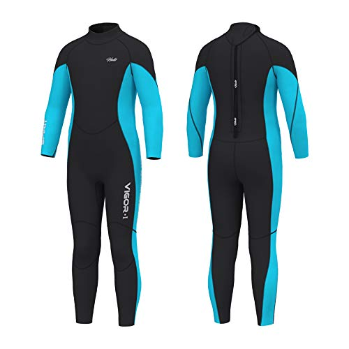 Hevto Wetsuits Kids 3mm Neoprene Full Scuba Diving Suit Thermal Toddler Children Boy Youth Girl Swimsuits for Water Sports (Blue Kids, 12)
