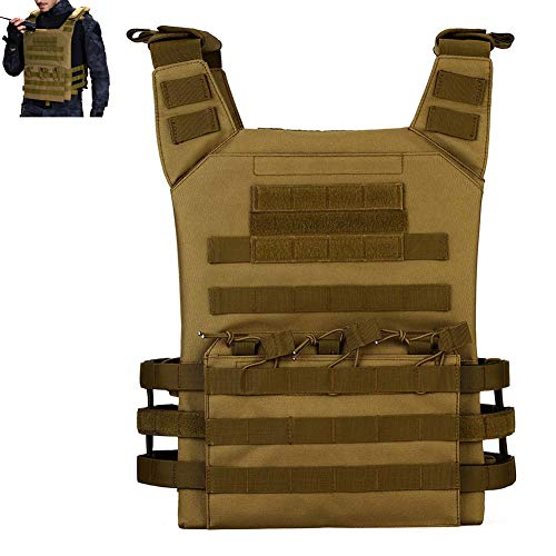 LRKZ Gilet Tactique Airsoft, Système de Nylon Réglable Molle Respirable Combat Outdoor Airsoft Hunting Protective with Removable Pouche,Mud