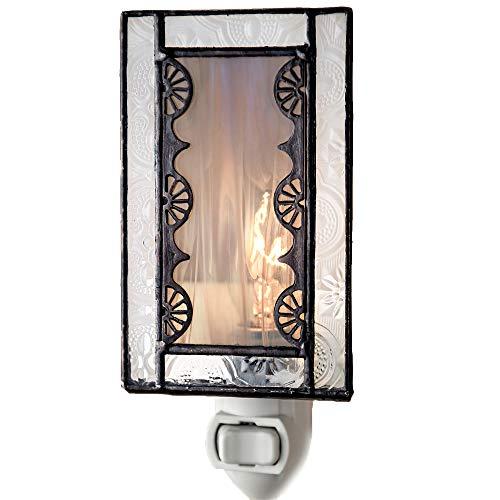 Decorative Night Light Grey Accent Lite Wall Plug in Nightlight for Hallway Bedroom Bathroom Nursery Kitchen Vintage Gray Home D