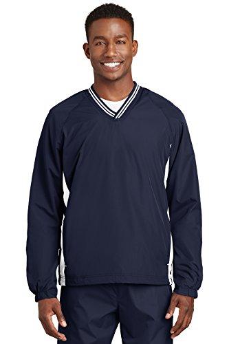 Sport-Tek® Tipped V-Neck Raglan Wind Shirt. JST62 True Navy/White XL