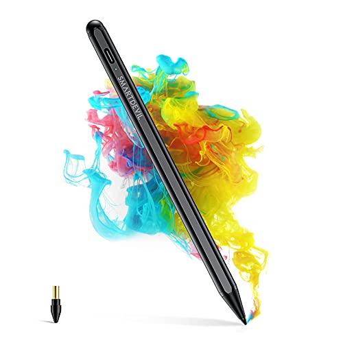 SmartDevil Penna per iPad,Palm Rejection,Per iPad Pro 2018-2021 (11'/12,9'), iPad 6a,7a,8a Gen(9,7'/10,2'),iPad Air 3a,4a Gen,iPad Mini 5,Spegnimento Automatico,Punta da 1,5 mm,Aggancio Magnetico-Nero