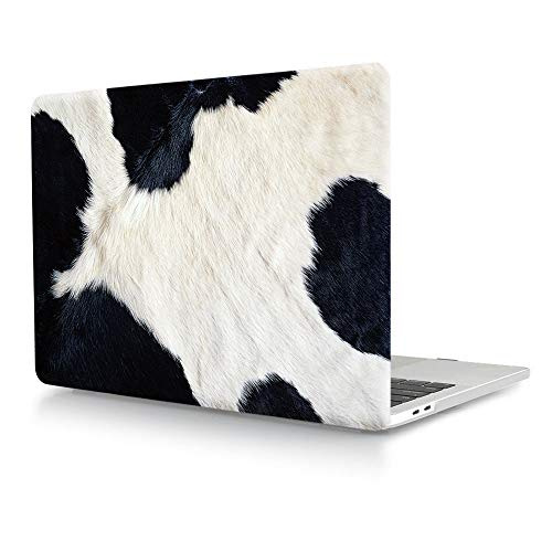 HRH 3D Dairy Cow Hair Pattern Design Laptop Body Shell Protective PC Hard Case for MacBook New Pro 13 inch with Touch bar A2159 A1706 A1989/ Without Touch bar A1708 A1988(2019 2018 2017 2016 Release)