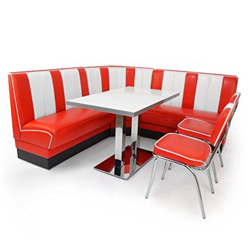 möbelland24 American Diner Set XXL: 2X Dinerbank 122cm + Eckbank 78x78cm + Diner Tisch + 2X Retro Stuhl