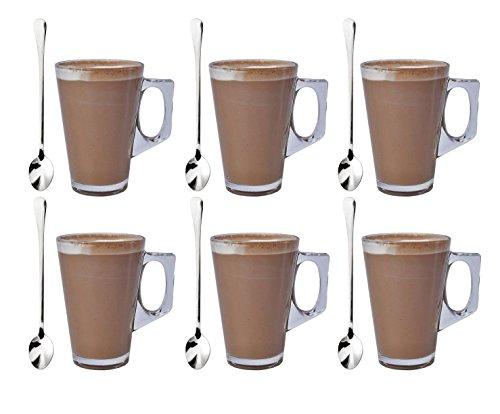 Set de 6 vasos de café de vidrio de 240ml con 6 cucharas de regalo