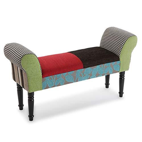 Versa Green Patchwork Taburete pie de cama para el Dormitorio, Banco para el Hall o la Entrada, con Apoyabrazos, Medidas (Al x L x An) 53 x 32 x 100 cm, Algodón y Madera, Color Verde