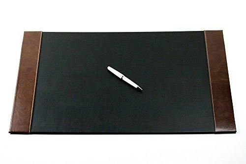 DELMON VARONE - Personalisierbare Schreibtischunterlage mit 2 Seitenleisten Vintage Leder Anilin schwarz/braun, Rutschfeste Schreibunterlage abwaschbar, Schreibtisch Unterlage als Mauspad, 64x42 cm