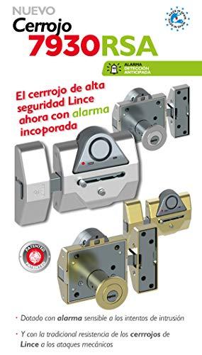 Lince Cerrojo Alta Seguridad 7930 RSA Alarma de 100dB-CROMADO, Cromado, 0